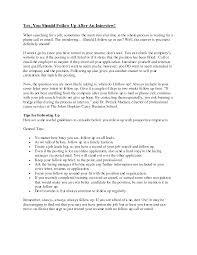 Follow Up Letter After Telephone Job Interview Cover Letter