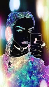 Galaxy Hipster Girl Wallpaper