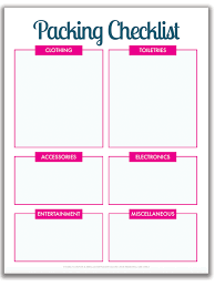 Printable Travel Checklist Template With International