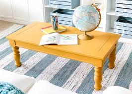 mustard playroom coffee table makeover blesserhouse com an old thrifted wooden coffee table