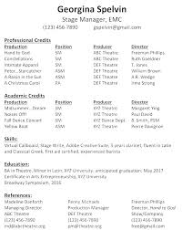 Resume For A Summer Job Best Of Concert Production Jobs Production Stage Manager Resume Styles Stage