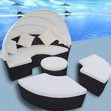 Round Outdoor Bed 2 In 1 Rattan Lounge Set Outdoor Round Sun Bed With Canopy Black