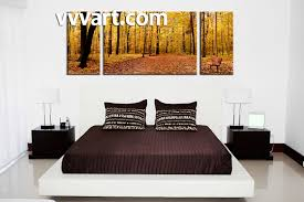 bedroom decor 3 piece wall art nature multi panel art scenery art  on framed canvas wall prints with 3 piece canvas scenery autumn yellow trees artwork