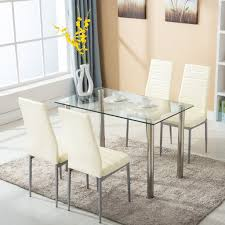 5 Piece Dining Set Glass Kitchen Table Set With 4 Leather Chairs
