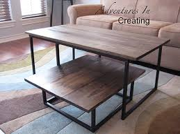 Furniture Inspiring Wood And Metal Coffee Tables As Your Living Dark Table  Sets Rectangle Brown Wooden With Black Base Plus Grey Fug Leather Sofa