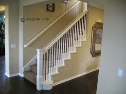 painted stair handrail--all white