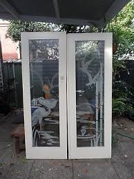 vintage deco etched frosted glass double doors x 2 pairs