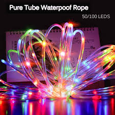 Solar Rope Lights For Garden Us 9 83 35 Off 7m 100 Led Christmas Solar Rope Lights Waterproof Copper Wire Pure Tube Rope String Light For Outdoor Indoor Home Garden Parties In