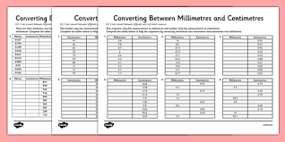 Mm Cm M Conversion Chart Converting Between Centimetres And Metres And Millimetres