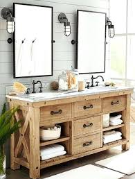 rustic master bathroom with inset cabinets pottery barn pivot rectangular mirror wall sconce lighting reviews