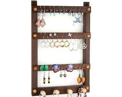 tom s earring holders small wall mount peruvian walnut jewelry holder with necklace holder bar