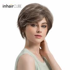 Esin Cute Short Hair Wig With Natural Bangs Pixie Cut Ash Grey With