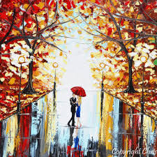 giclee print art abstract painting couple red umbrella dancing rain city park large canvas prints on couple with red umbrella wall art with best red umbrella art products on wanelo