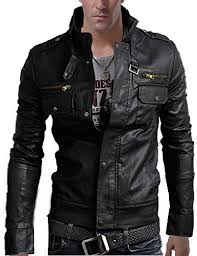 Senfloco Size Chart Senfloco Mens Pu Leather Motorcycle Jacket Stand Collar Multi Pocket Jackets