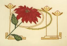 Art Deco Cross Stitch Charts Poinsettia Cross Stitch Chart Art Nouveau Deco