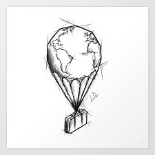 Balloon Handmade Drawing Made In Pencil Charcoal And Ink Tattoo Sketch Tattoo Flash Sketch Art Print