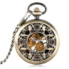 new roman numerals hand winding mechanical mini goldfish stylish pocket watch pendant hollow vintage necklace women men gifts