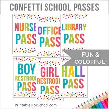 School Hall Pass Template Confetti Hall Pass Printables