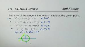 pre calculus review to find equation of tangent line to circle at given point