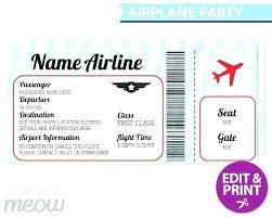 Airline Ticket Template Word Best Pretend Plane Ticket Template