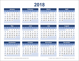 2018 Calendar Yearly Printable Calendar