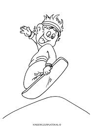 Kleurplaat Snowboard Freestyle Big Air Sport