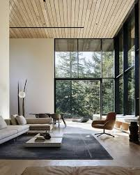 a light colored wooden plank ceiling makes the minimalist space cozier and warmer