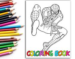 Spiderman jumps from the vehicle. Man Coloring Book Etsy
