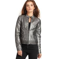 lyst calvin klein jeans metallic moto faux leather jacket in