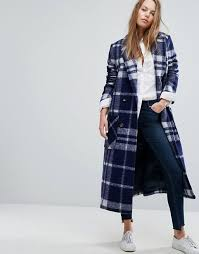 tommy hilfiger denim long check wool coat s60l1 for women