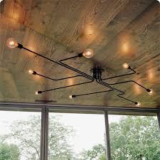 Loft Living Led String Lights Nordic Pipe Wrought Iron 4 Heads 6 Heads 8 Heads Ceiling Light Retro Industrial Loft Living Room Lustre Lamp Iron Lamp