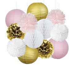 Tissue Balls Party Decorations Set Of 100 Pink Gold Party Decoration Kit Tissue Paper Pom Pom 51