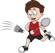 playing cartoon boy playing badminton cartoon illustration stock vector colourbox