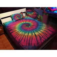 rose pink yellow blue and green neon colored tie dye beautiful trippy bohemian style 100 cotton twin full queen size bedding sets