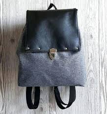 mini backpack small waterproof vegan leather and fabric grey black purse handbags