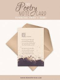 Free Printable Poetry Note Cards Greeting Cards Nina Heyen