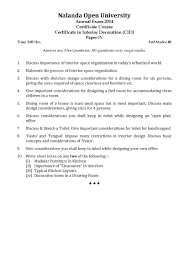 Interior Design Test Questions Nalanda Open University Certificate In Interior Decoration