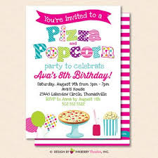 Pizza And Popcorn Party Invitation White Kids Pizza Popcorn Birthday Party Invite Printable Instant Download Editable Pdf