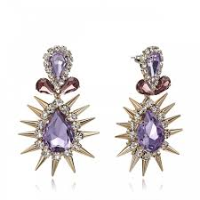 chandelier earrings purple crystal teardrop punk spike rivets chandelier earring