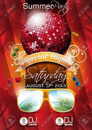Beach Flyer Vector Summer Beach Party Flyer Design With Disco Ball And