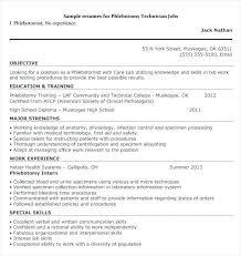 Entry Level Phlebotomy Resume Blogue Me