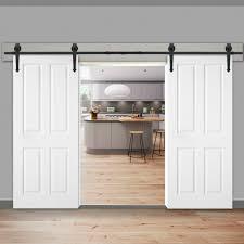 12ft Steel Sliding Barn Door Rollers Double Wood Closet Hardware