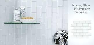 white glass tile shower clear glass corner shelf installed over a shower glass subway tile white
