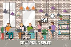 the creative office. Vector - Illustration Of Coworking Space. Working Place, Office. People In The Creative Flat Design. Office E