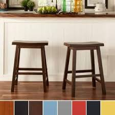 salvador saddle back 24inch counter height backless stool set of 2 by wood bar stools with backs c0 backs