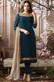 Images Of Designer Party Wear Salwar Kameez Georgette Dark Grey Party Wear Salwar Kameez With Embroidery Designs