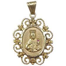 vintage 18k gold big filigree religious saint barbara medallion arnold jewelers ruby lane