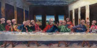the very last supper pastel painting parody of da vinci s the last supper
