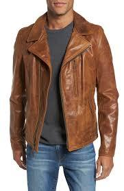 schott nyc men s brown asymmetrical waxy leather jacket