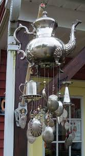 authentic metalic teapot windchimes for frontyard